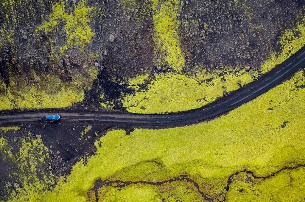 Aerial View of road in Iceland