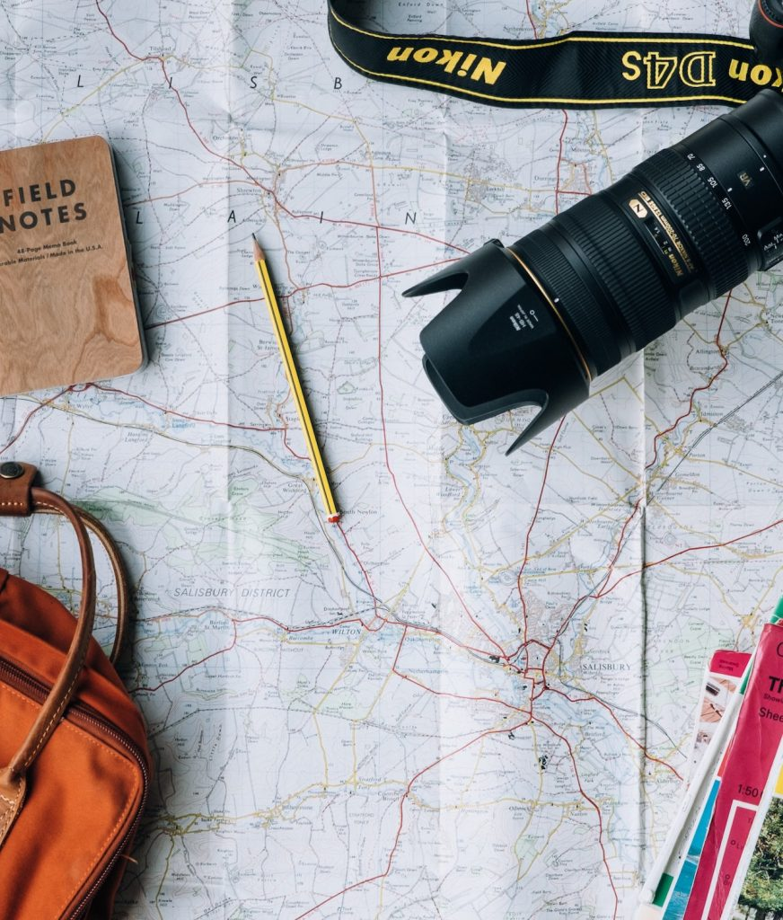 map flat lay alle custom travel planning
