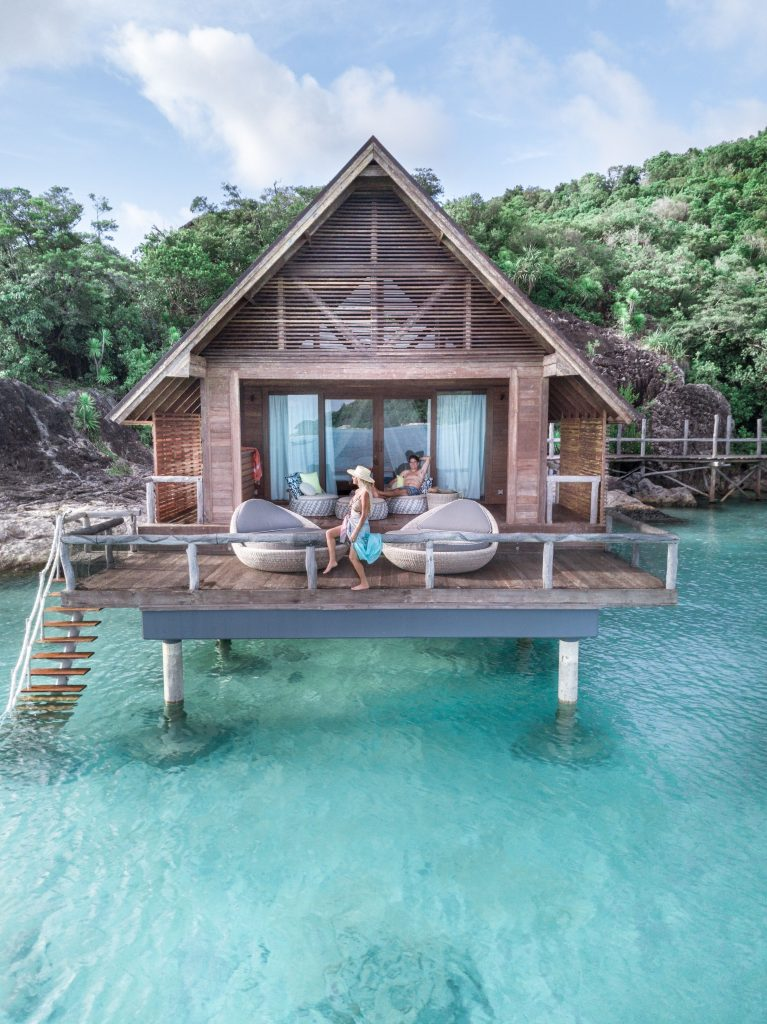 Overwater hotel room in Indonesia