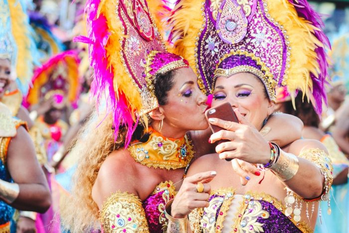 Women dressed up for Carnival in Puerto Rico