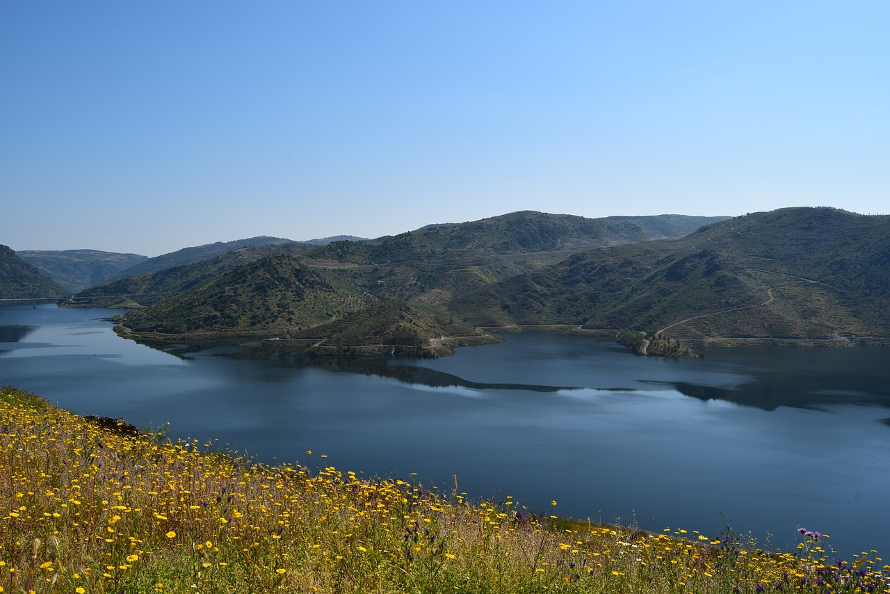 Mountains above the river in Douro Valley