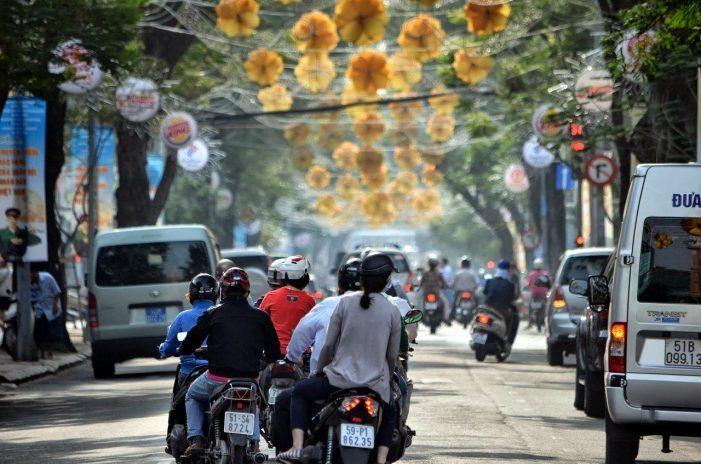 Driving down the street in Ho Chi Minh City (Saigon)