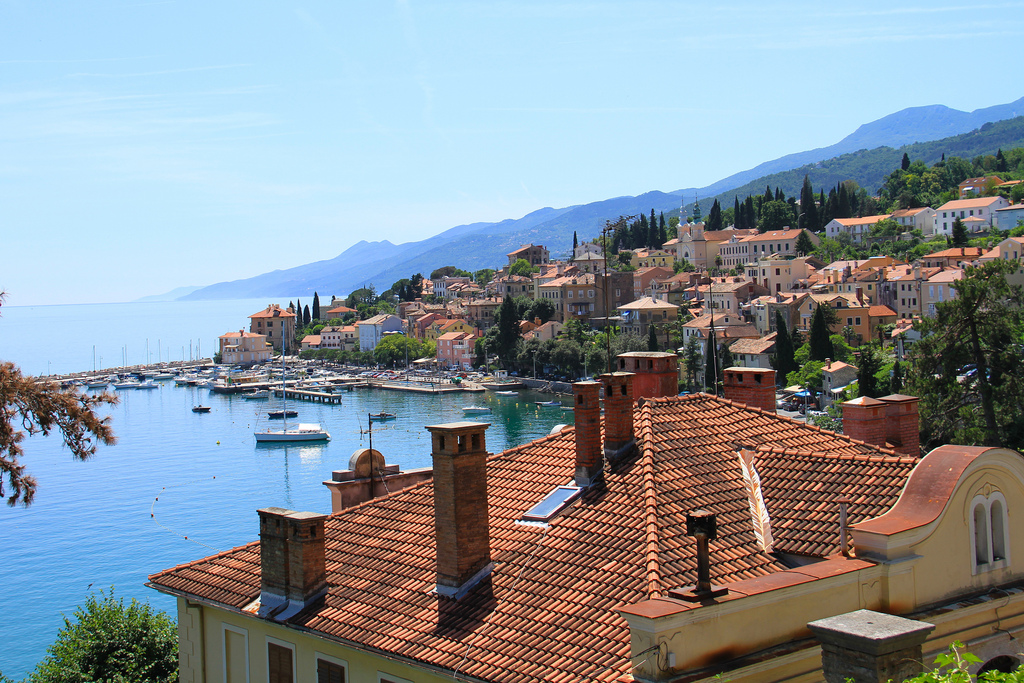 View over homes into the sea in Opatija