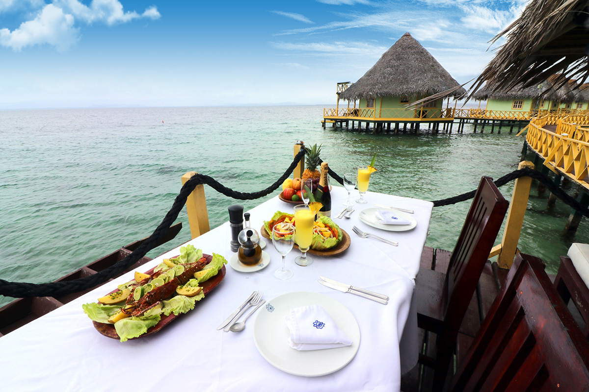 Lunch served on overwater bungalow